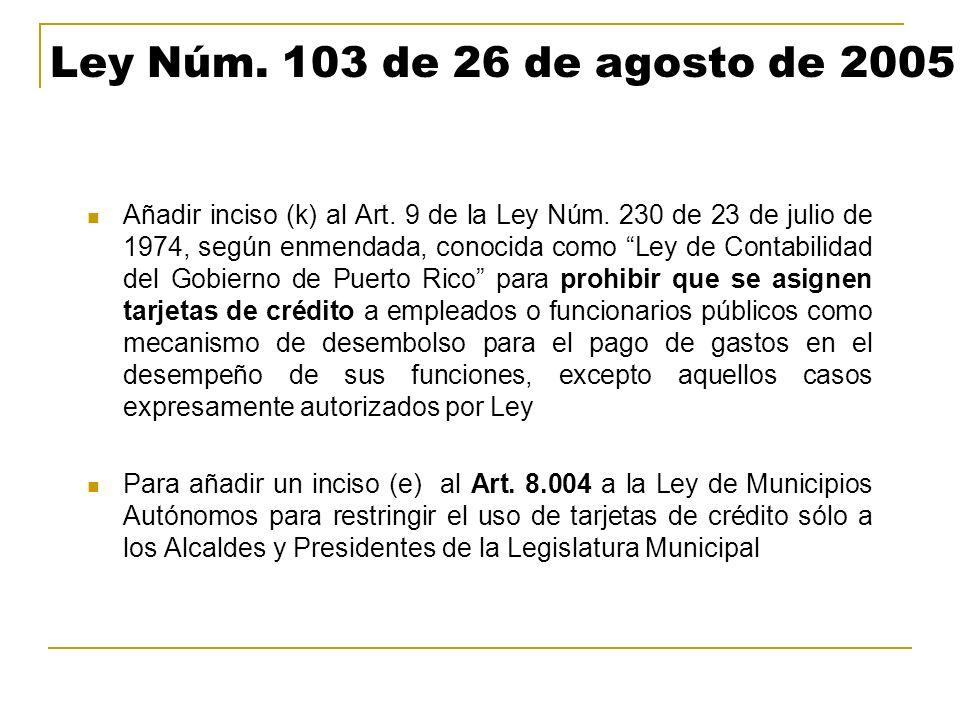 Ley Núm. 103 de 26 de agosto de 2005