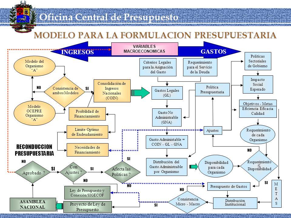MODELO PARA LA FORMULACION PRESUPUESTARIA