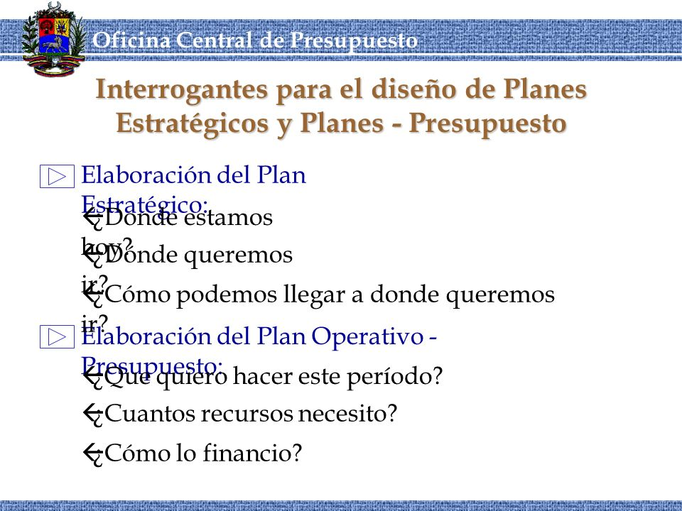 Interrogantes para el diseño de Planes Estratégicos y Planes - Presupuesto