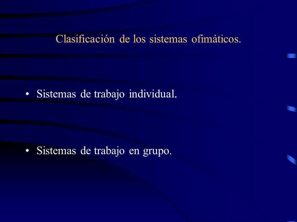 Clasificación de los sistemas ofimáticos.