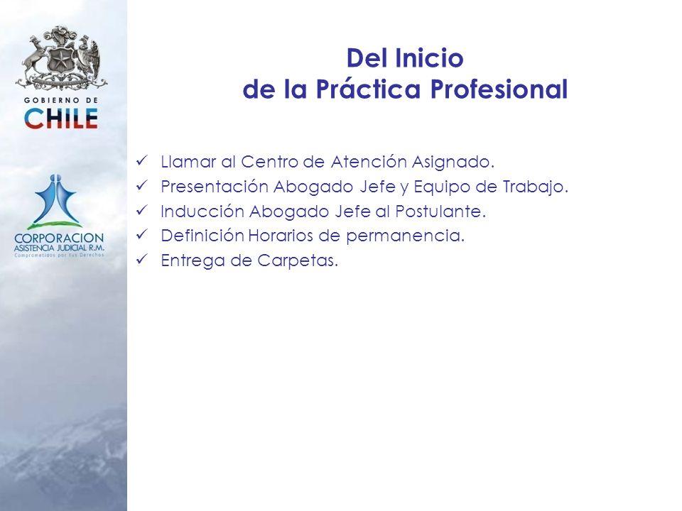 Del Inicio de la Práctica Profesional