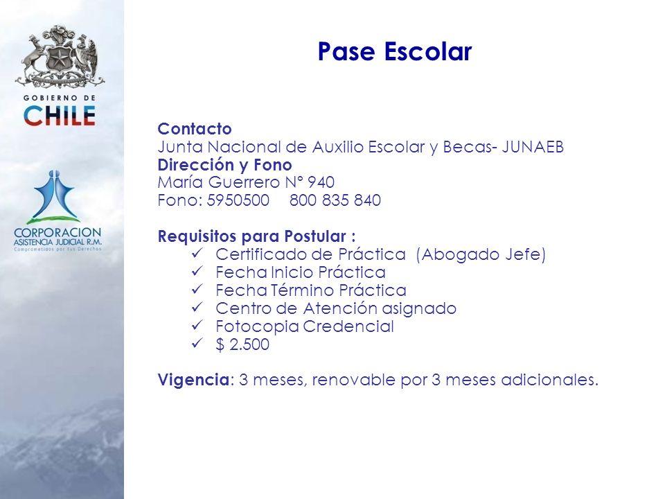 Pase Escolar Contacto. Junta Nacional de Auxilio Escolar y Becas- JUNAEB. Dirección y Fono. María Guerrero Nº 940.