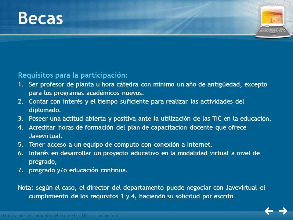 Becas Requisitos para la participación: