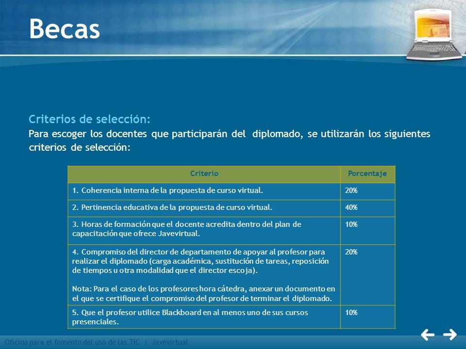 Becas Criterios de selección: