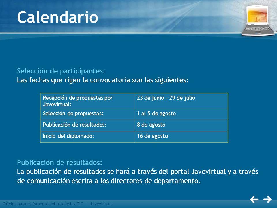 Calendario Selección de participantes: