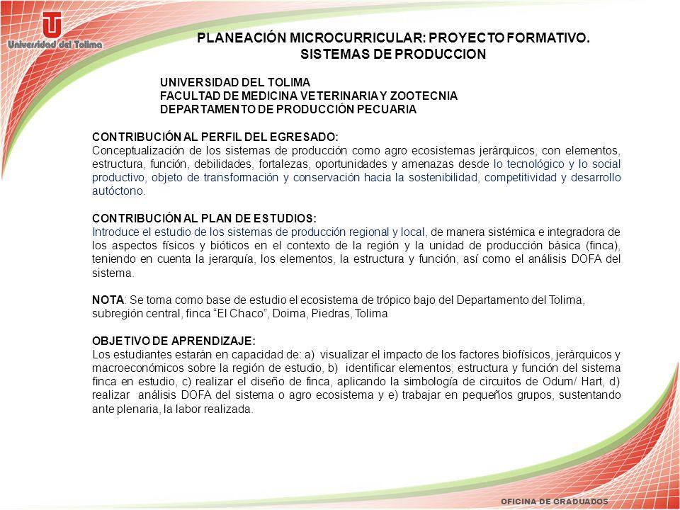 PLANEACIÓN MICROCURRICULAR: PROYECTO FORMATIVO. SISTEMAS DE PRODUCCION