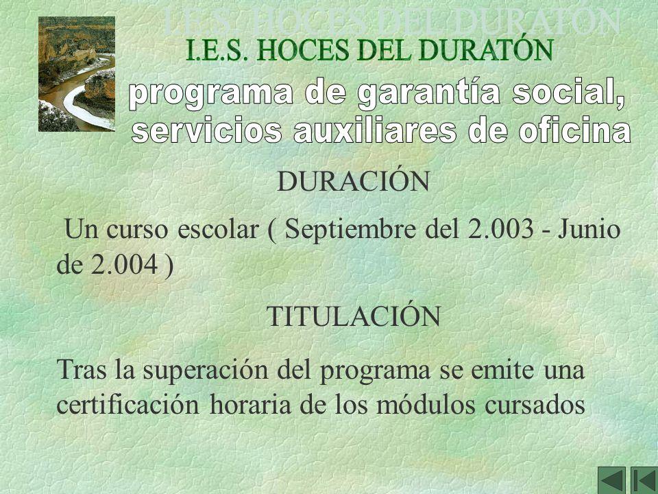 programa de garantía social, servicios auxiliares de oficina