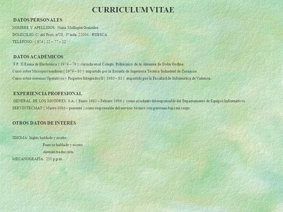 CURRICULUM VITAE OTROS DATOS DE INTERÉS DATOS PERSONALES