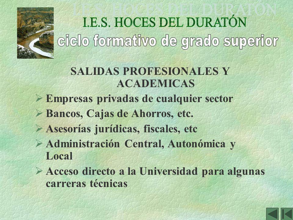 SALIDAS PROFESIONALES Y ACADEMICAS