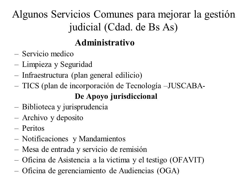 Algunos Servicios Comunes para mejorar la gestión judicial (Cdad