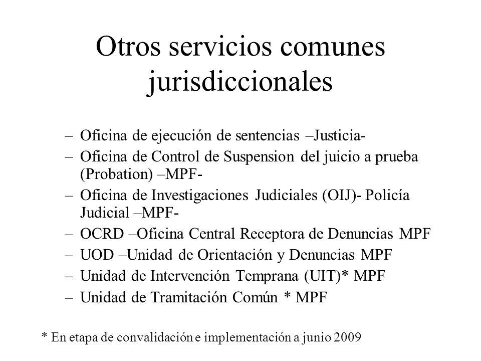Otros servicios comunes jurisdiccionales