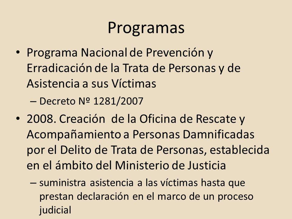 Programas Programa Nacional de Prevención y Erradicación de la Trata de Personas y de Asistencia a sus Víctimas.