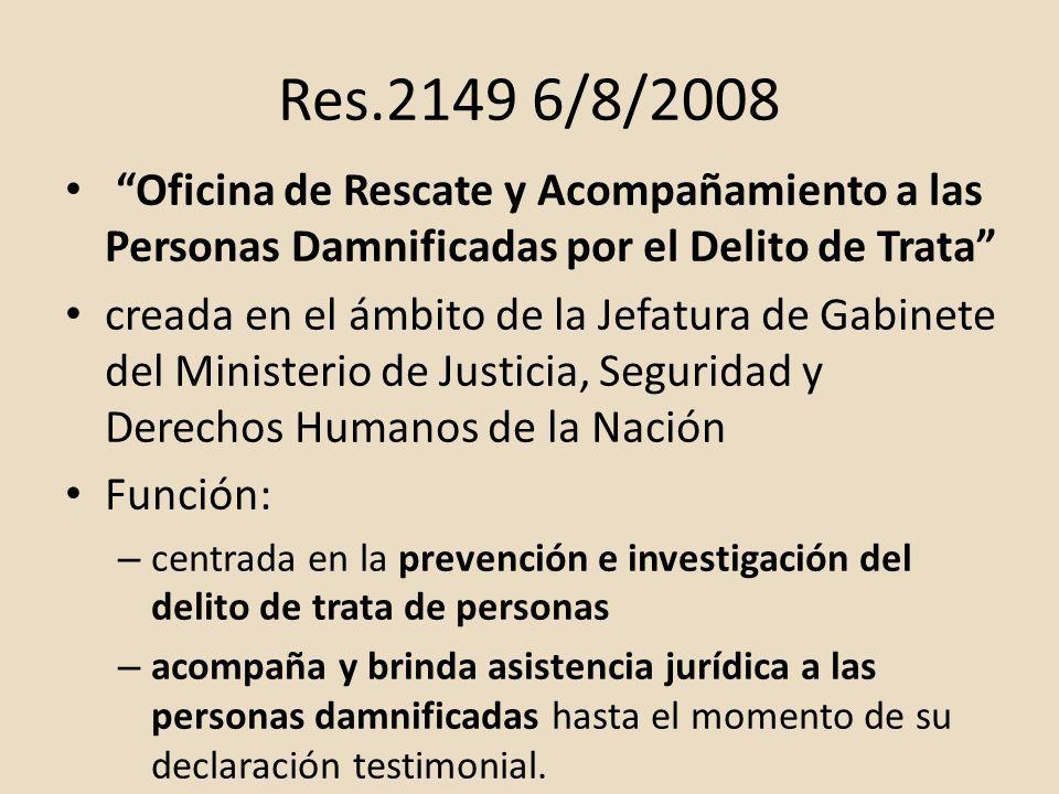 Res.2149 6/8/2008 Oficina de Rescate y Acompañamiento a las Personas Damnificadas por el Delito de Trata