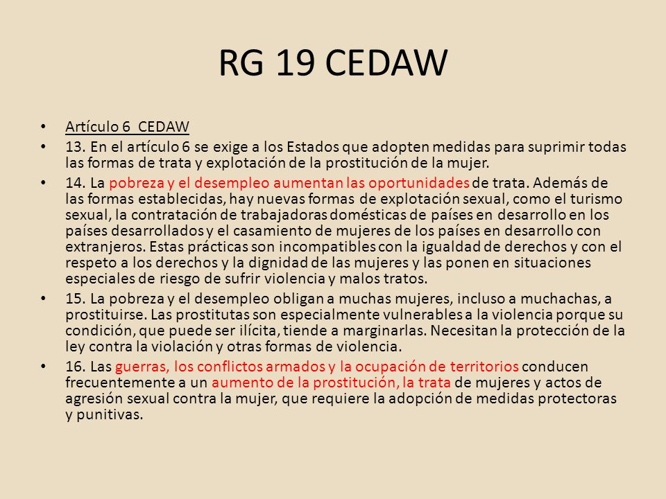 RG 19 CEDAW Artículo 6 CEDAW