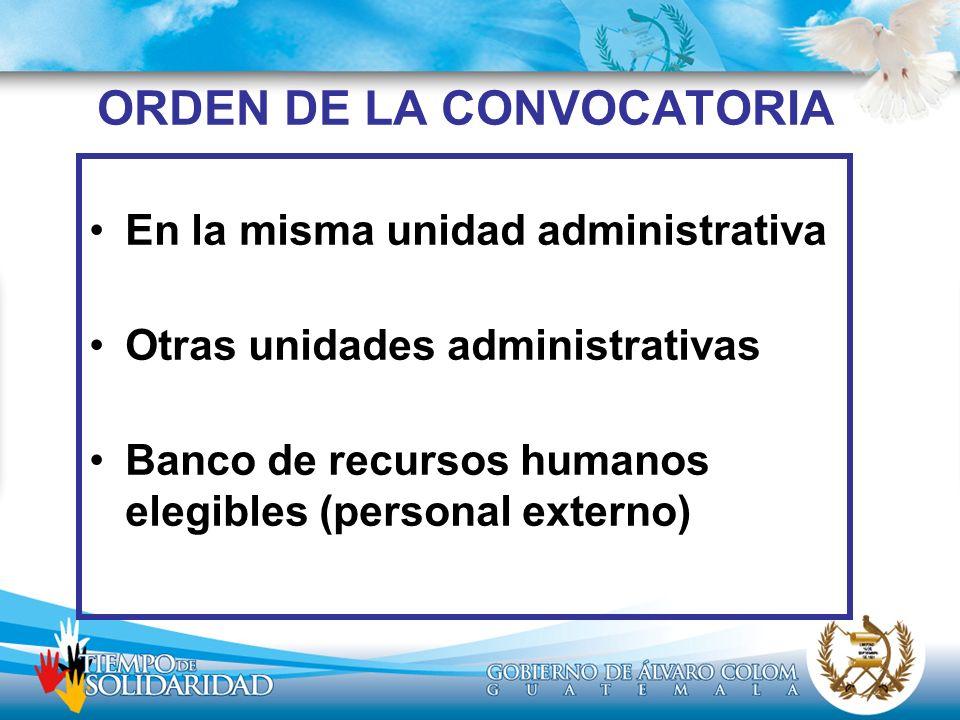 ORDEN DE LA CONVOCATORIA
