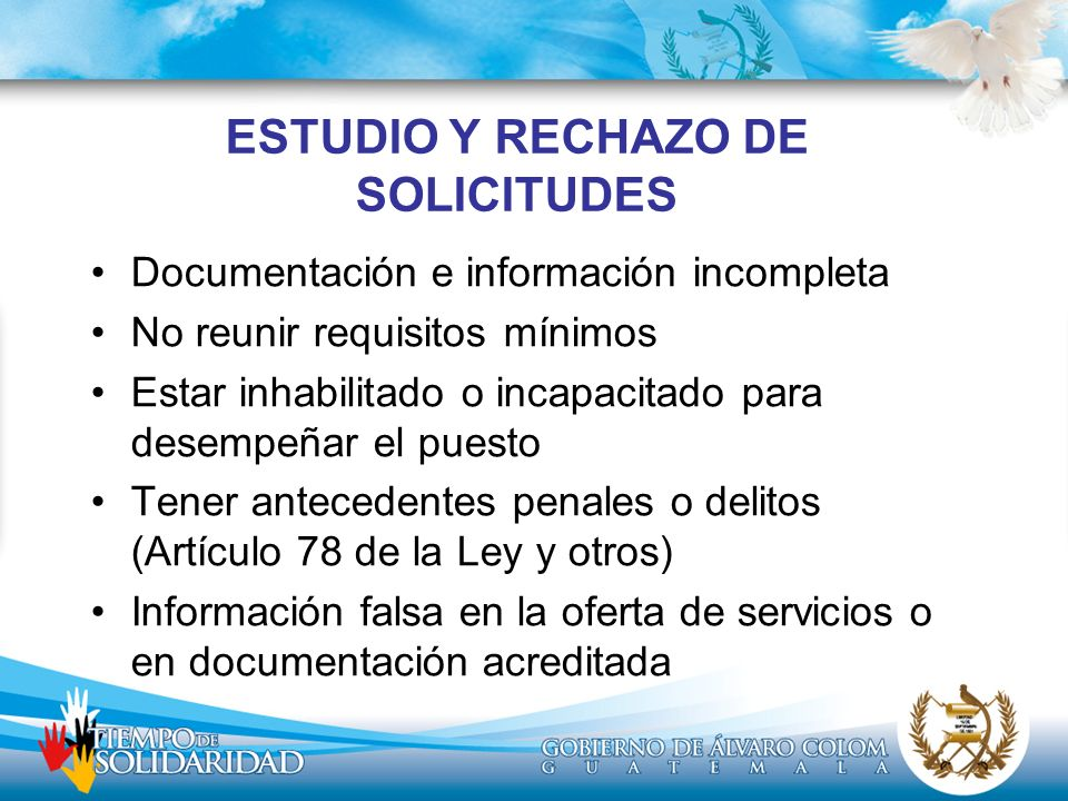 ESTUDIO Y RECHAZO DE SOLICITUDES