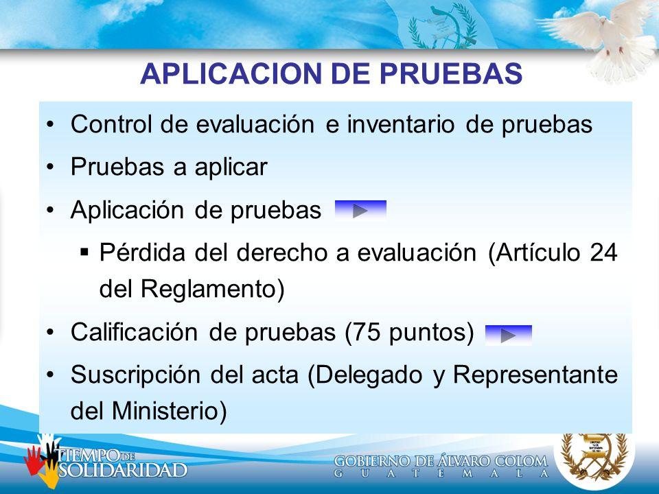 APLICACION DE PRUEBAS Control de evaluación e inventario de pruebas