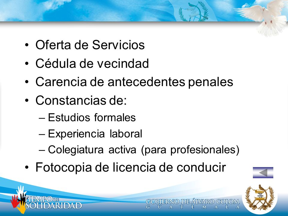 Carencia de antecedentes penales Constancias de: