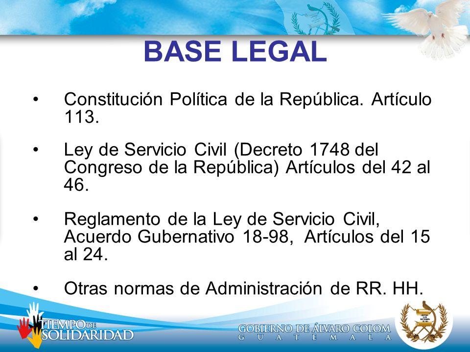 BASE LEGAL Constitución Política de la República. Artículo 113.