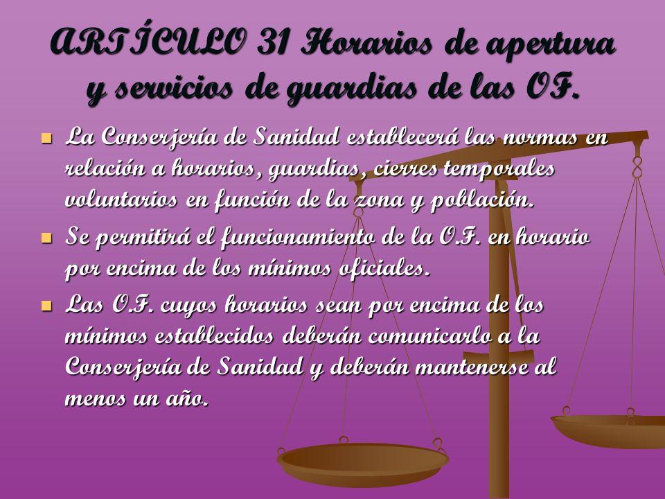 ARTÍCULO 31 Horarios de apertura y servicios de guardias de las OF.