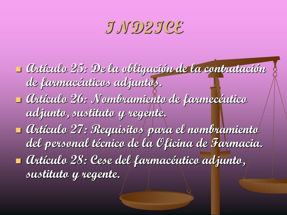 IND2ICE Artículo 25: De la obligación de la contratación de farmacéuticos adjuntos.