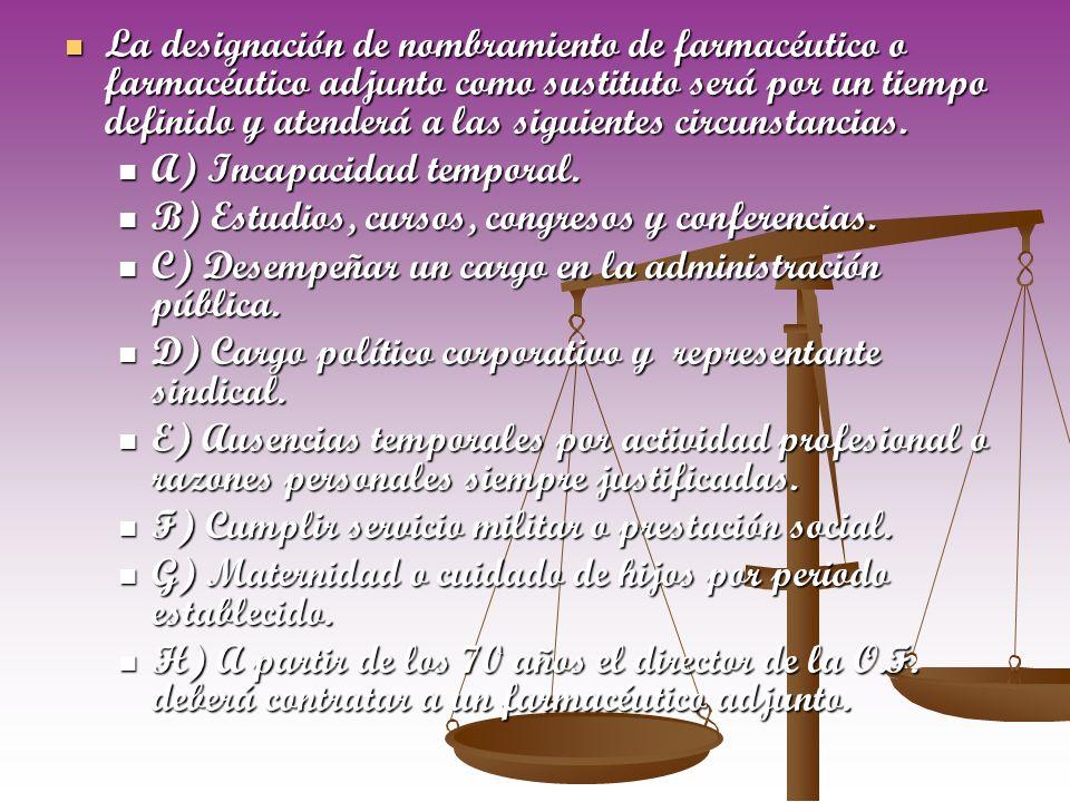 La designación de nombramiento de farmacéutico o farmacéutico adjunto como sustituto será por un tiempo definido y atenderá a las siguientes circunstancias.