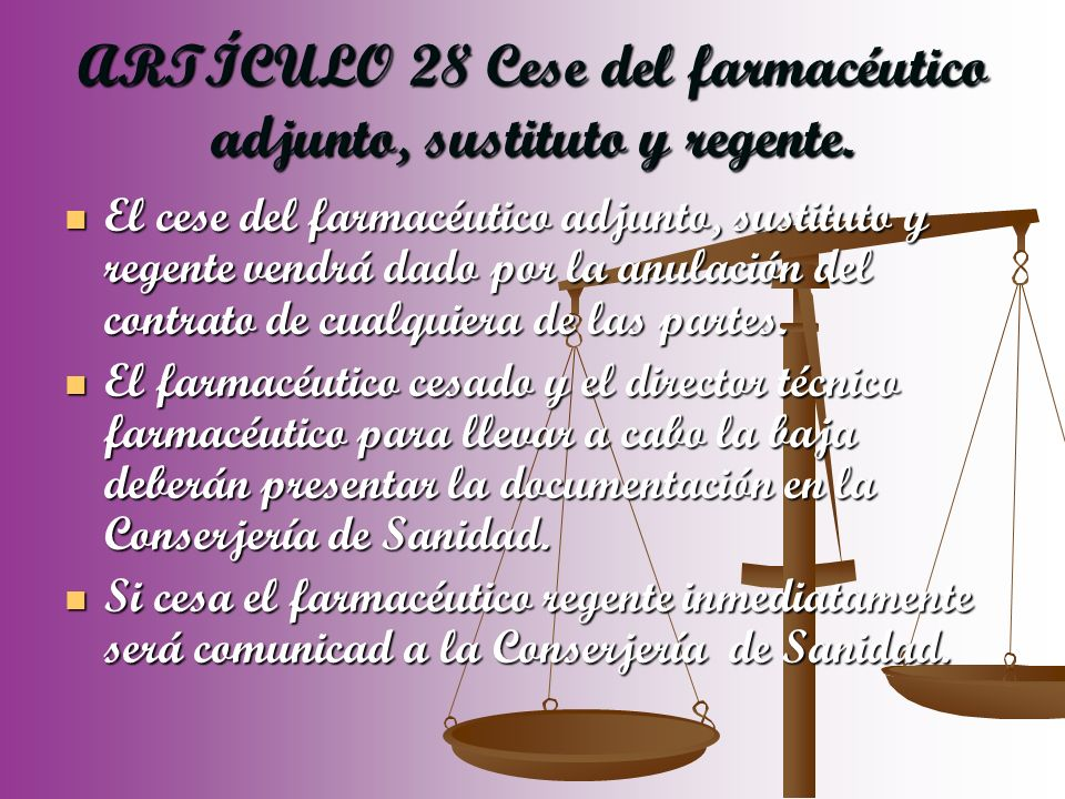ARTÍCULO 28 Cese del farmacéutico adjunto, sustituto y regente.