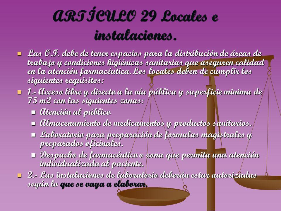 ARTÍCULO 29 Locales e instalaciones.