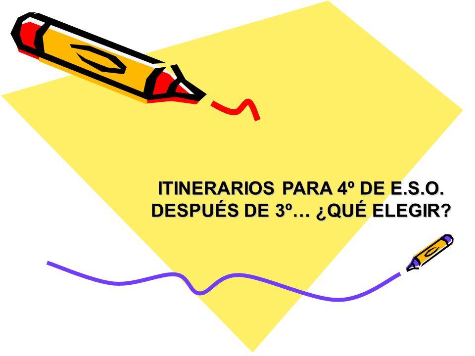 ITINERARIOS PARA 4º DE E.S.O. DESPUÉS DE 3º… ¿QUÉ ELEGIR