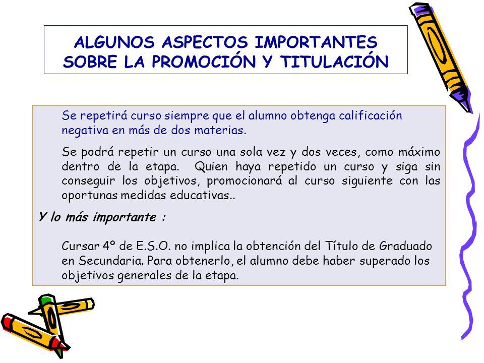 ALGUNOS ASPECTOS IMPORTANTES SOBRE LA PROMOCIÓN Y TITULACIÓN