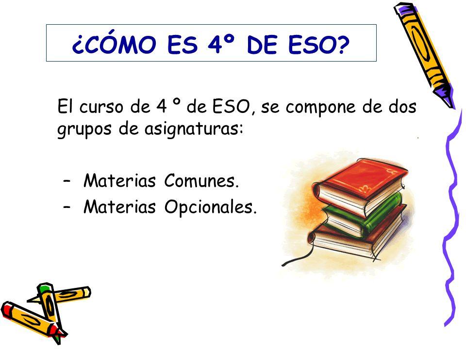 ¿CÓMO ES 4º DE ESO El curso de 4 º de ESO, se compone de dos grupos de asignaturas: Materias Comunes.