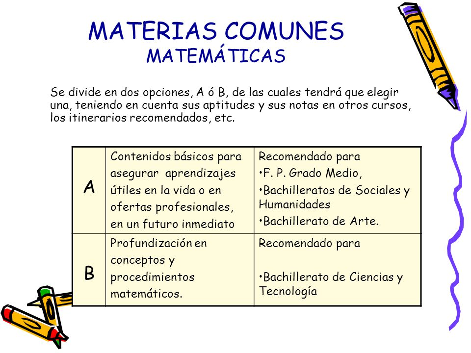 MATERIAS COMUNES MATEMÁTICAS