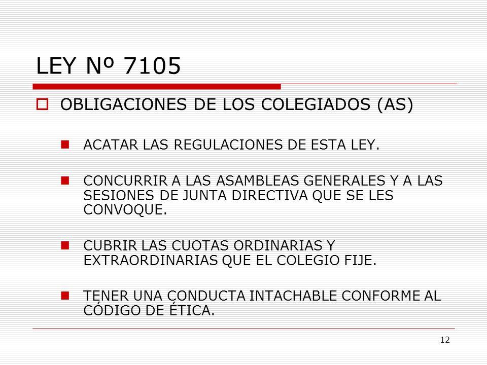 LEY Nº 7105 OBLIGACIONES DE LOS COLEGIADOS (AS)