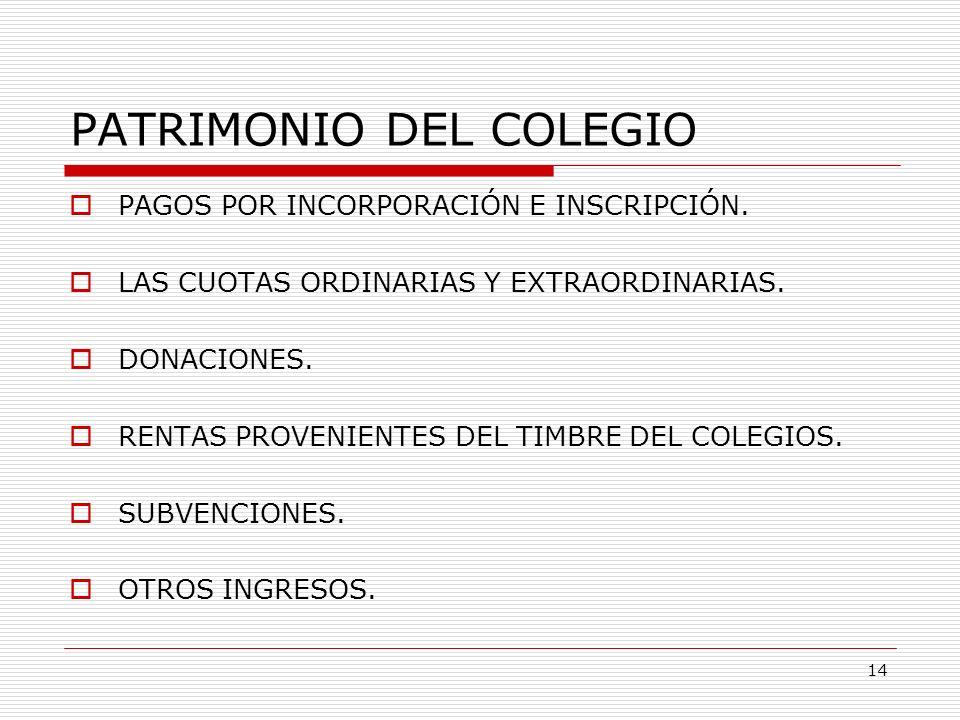 PATRIMONIO DEL COLEGIO