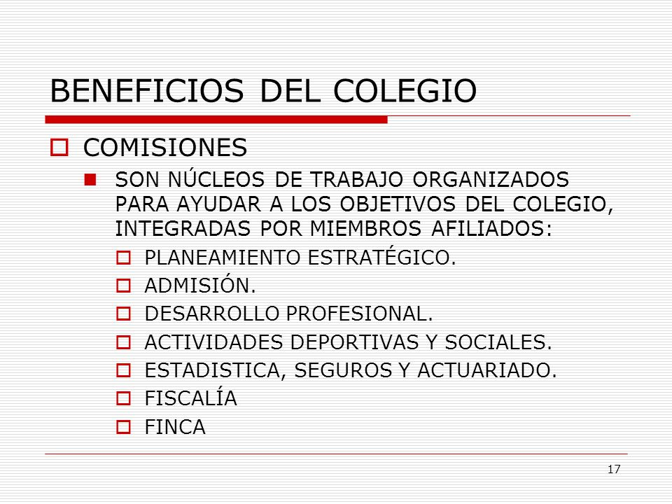 BENEFICIOS DEL COLEGIO