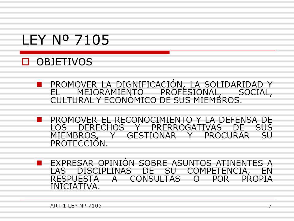 LEY Nº 7105 OBJETIVOS. PROMOVER LA DIGNIFICACIÓN, LA SOLIDARIDAD Y EL MEJORAMIENTO PROFESIONAL, SOCIAL, CULTURAL Y ECONÓMICO DE SUS MIEMBROS.