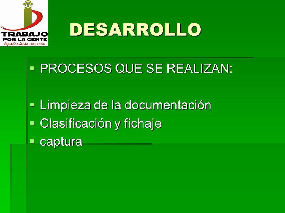 DESARROLLO PROCESOS QUE SE REALIZAN: Limpieza de la documentación