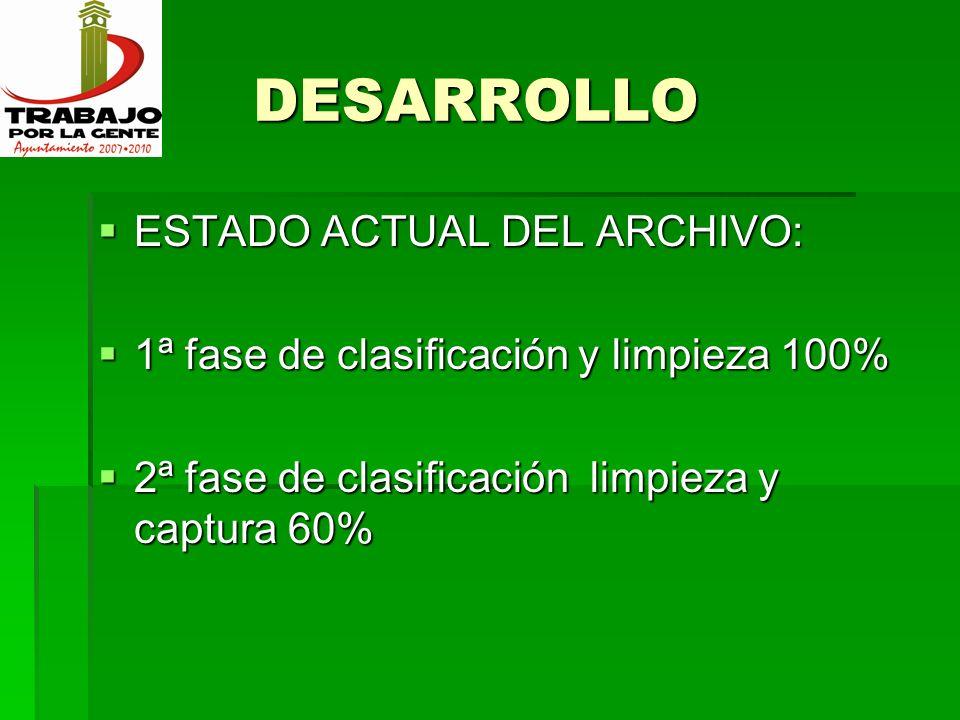 DESARROLLO ESTADO ACTUAL DEL ARCHIVO: