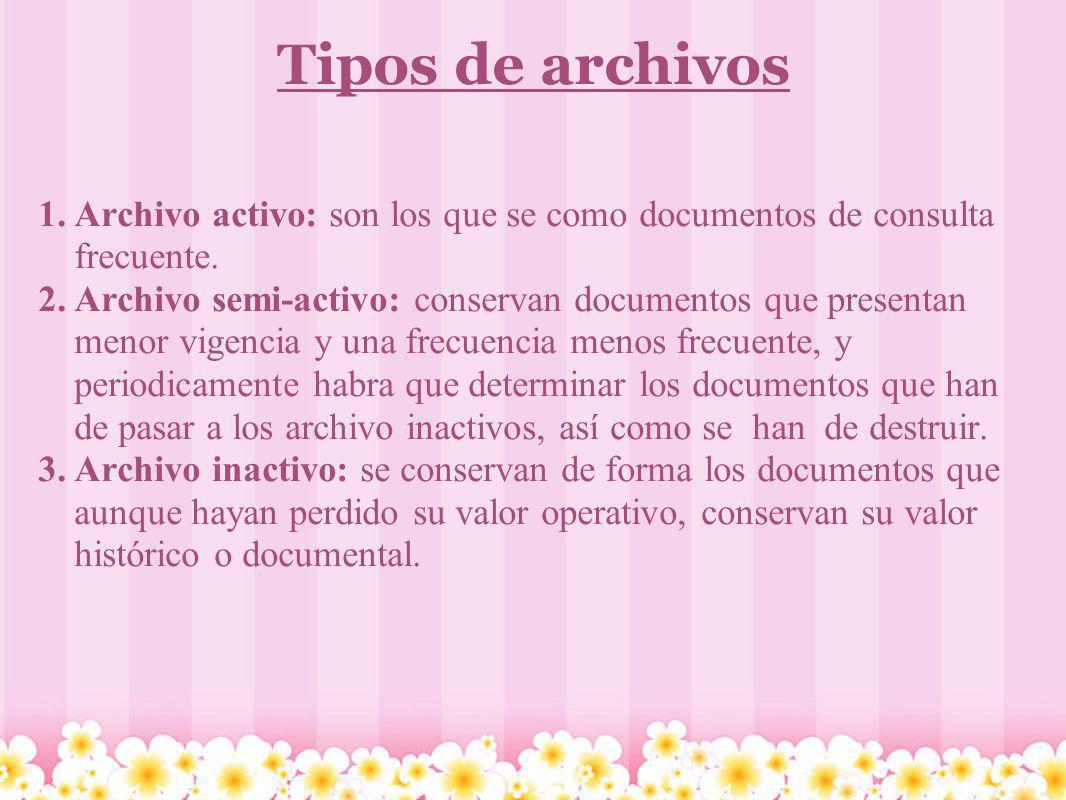 Tipos de archivos Archivo activo: son los que se como documentos de consulta frecuente.