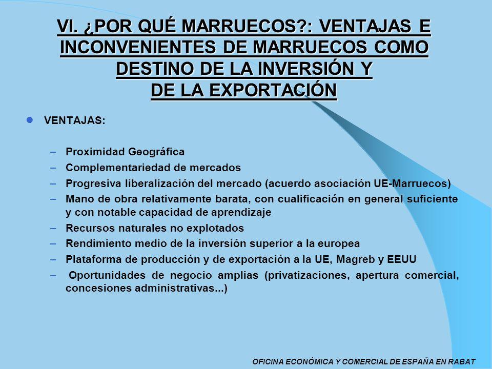 VI. ¿POR QUÉ MARRUECOS : VENTAJAS E INCONVENIENTES DE MARRUECOS COMO DESTINO DE LA INVERSIÓN Y DE LA EXPORTACIÓN