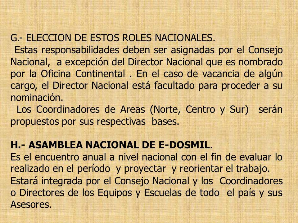 G.- ELECCION DE ESTOS ROLES NACIONALES.