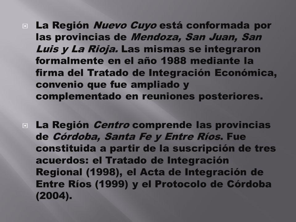 La Región Nuevo Cuyo está conformada por las provincias de Mendoza, San Juan, San Luis y La Rioja. Las mismas se integraron formalmente en el año 1988 mediante la firma del Tratado de Integración Económica, convenio que fue ampliado y complementado en reuniones posteriores.