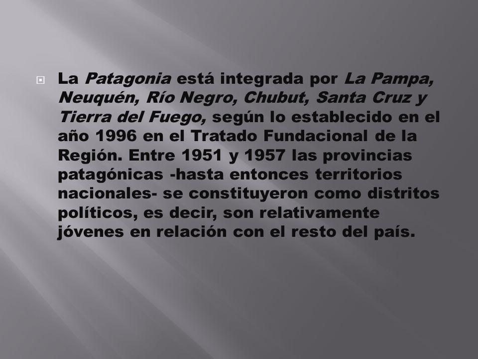 La Patagonia está integrada por La Pampa, Neuquén, Río Negro, Chubut, Santa Cruz y Tierra del Fuego, según lo establecido en el año 1996 en el Tratado Fundacional de la Región.