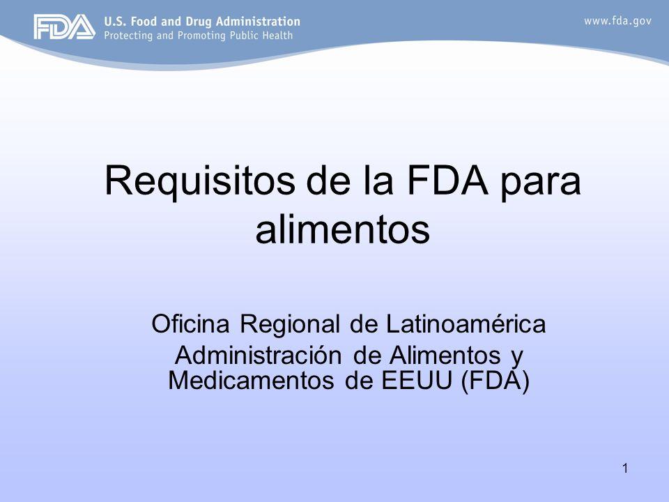 Requisitos de la FDA para alimentos