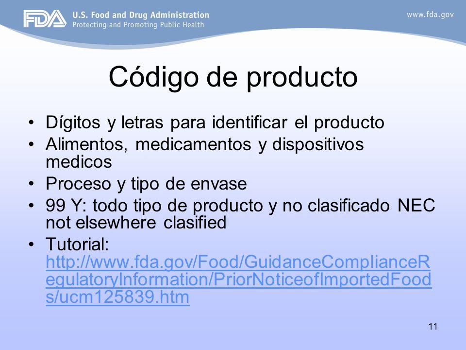 Código de producto Dígitos y letras para identificar el producto