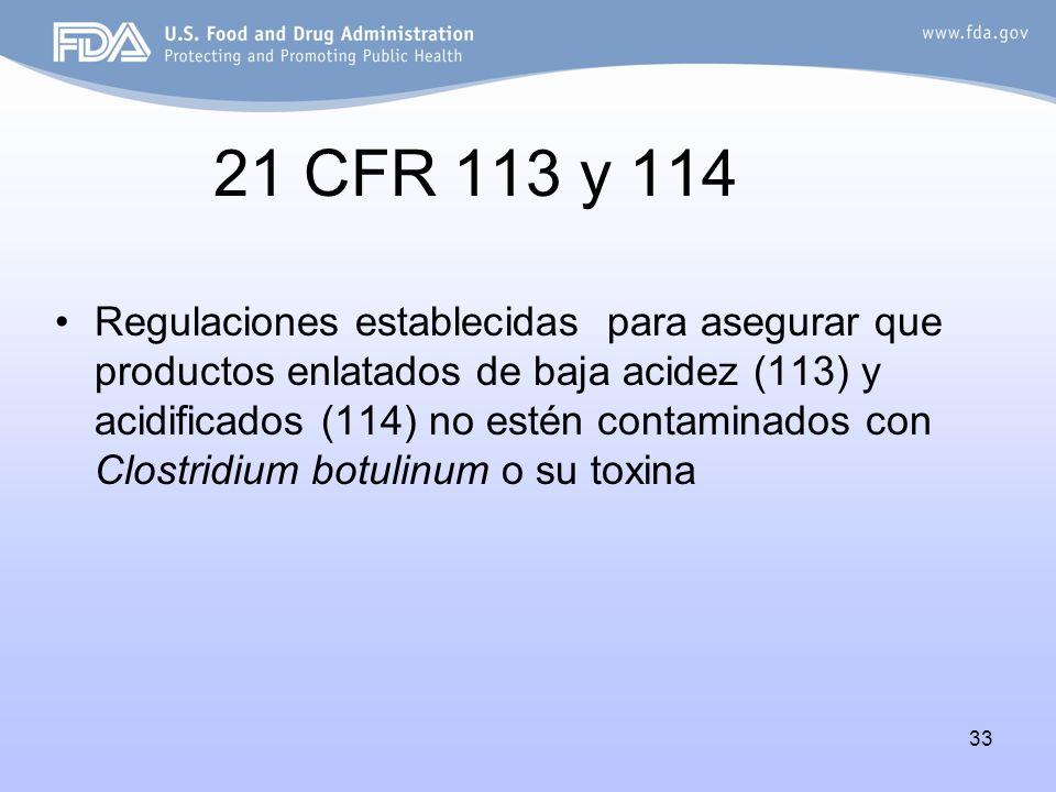 21 CFR 113 y 114