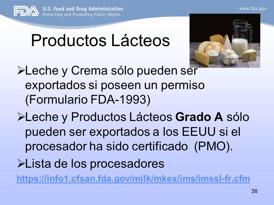 Productos Lácteos Leche y Crema sólo pueden ser exportados si poseen un permiso (Formulario FDA-1993)