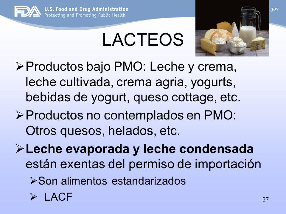 LACTEOS Productos bajo PMO: Leche y crema, leche cultivada, crema agria, yogurts, bebidas de yogurt, queso cottage, etc.