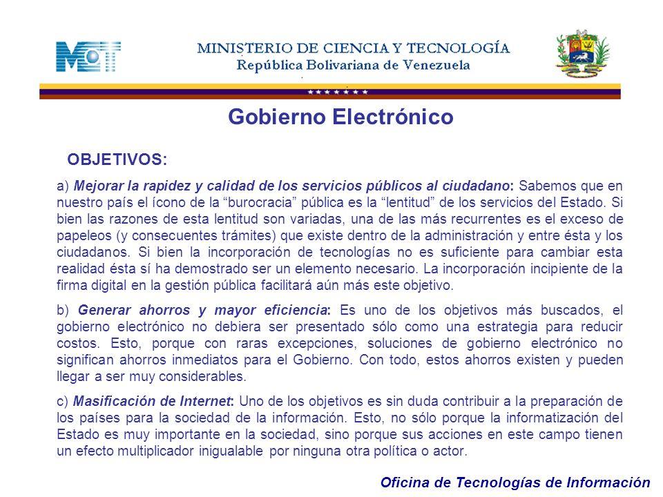 Gobierno Electrónico OBJETIVOS: