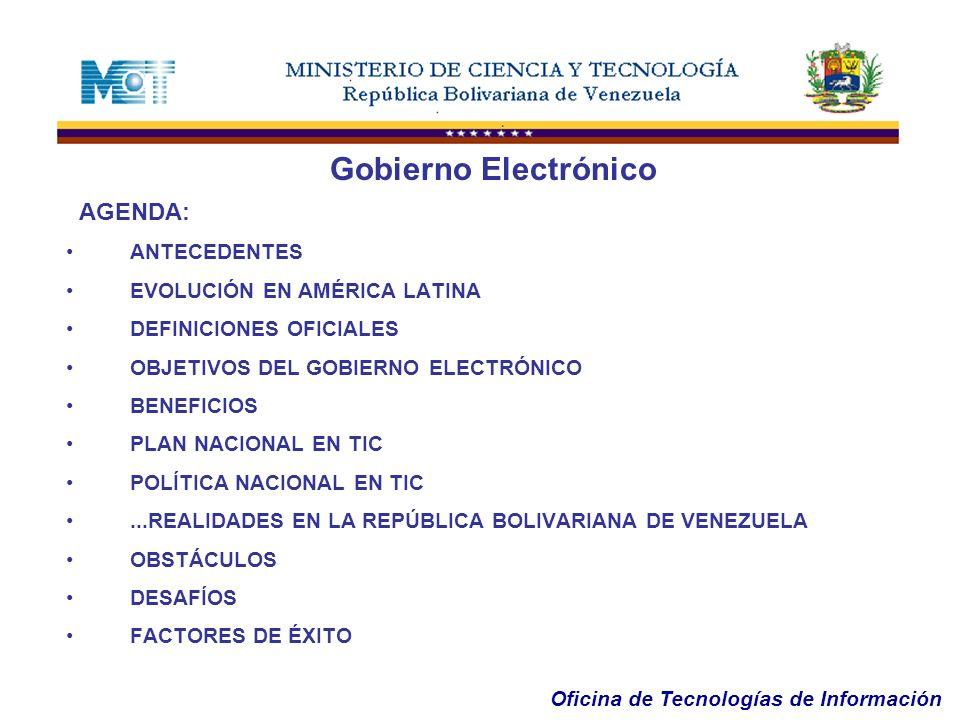 Gobierno Electrónico AGENDA: ANTECEDENTES EVOLUCIÓN EN AMÉRICA LATINA